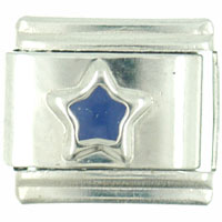 Italian Charms - silver star blue birthstones jewelry italian charm Image.