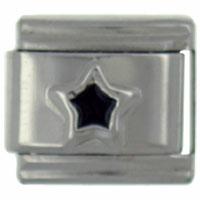 Italian Charms - silver star black celestial italian charm Image.