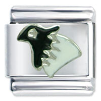 Italian Charms - black head bird gift italian charm Image.