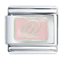 "Italian Charms - silver ""@""  pink special categories italian charm Image."