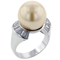 Mother Of Pearl Jewelry - size 6  faux pink freshwater cultured pearl rings for fashion women Image.