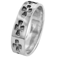 Rings - punk men' s sterling silver size 6  celtic cross band pave ring Image.