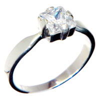 Rings - square clear crystal cz sterling silver ring size 6  fashion jewelry Image.