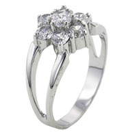 Rings - multi clear cz flower sterling silver fashion right hand ring size  6 Image.