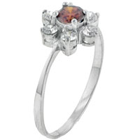 Rings - size6  citrine &  cz flower sterling silver ring gift jewelry fashion Image.