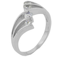 Rings - size6  round cz quad split sterling silver ring gift fashion jewelry Image.