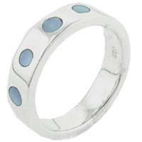 Rings - fashion 925  sterling silver blue dot mother of pearl band ring gift Image.