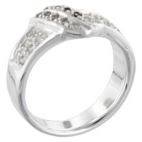 Rings - round cut cz scroll sterling silver anniversary right hand ring Image.