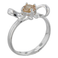 Rings - size6  round cz topaz bow sterling silver ring gift jewelry fashion Image.