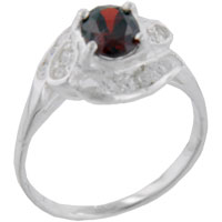 Sterling Silver Jewelry - size 6  oval cz garnet twist sterling silver ring Image.