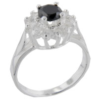 Rings - size6  round onyx &  cz sterling silver ring gift fashion jewelry Image.