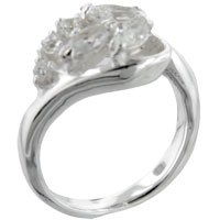 Sterling Silver Jewelry - marquise &  round cut cz rings sterling silver promise anniversary ring Image.