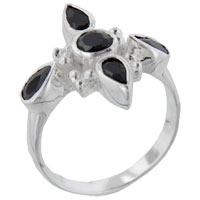 Sterling Silver Jewelry - onyx cross fitchy sterling silver ring gift jewelry fashion Image.