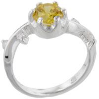 Rings - size6  round citrine sterling silver ring gift fashion jewelry Image.