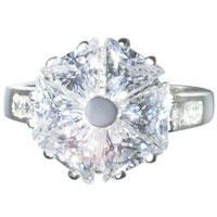 Sterling Silver Jewelry - trillion cut cz pinwheel sterling silver anniversary right hand ring Image.