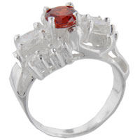 Sterling Silver Jewelry - size6  round cz citrine sleigh sterling silver ring gift fashion jewelry Image.