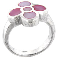 Mother Of Pearl Jewelry - pink daisy mother of pearl rings Image.