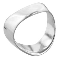 Rings - men' s fashion 925  sterling silver wave silver tone ring size 6 Image.