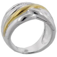 Rings - gold tone wave sterling silver rings Image.
