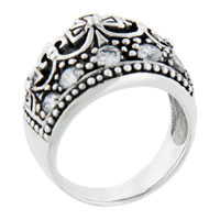 Sterling Silver Jewelry - round cut cz royal tiara right hand ring Image.