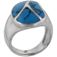 Rings - size6  turquoise leaf design ring Image.