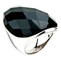 Gifts Center - size6  black cut round agate Image.