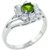 Rings - fashion round cut periot cz flower 925  sterling silver rings jewelry Image.