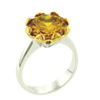 Rings - size7  round citrine cz sterling silver gift jewelry fashion ring Image.