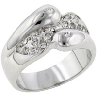 Sterling Silver Jewelry - size 7  cz swirl rings Image.