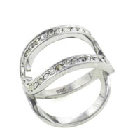 Rings - size7  double row cz sterling silver gift jewelry ring fashion Image.