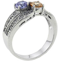 Rings - size7  round cut tri color cz ring Image.