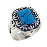 Theme Jewelry - size7  square turquoise class 925  sterling silver ring vintage Image.