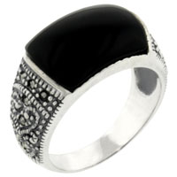 relation - size7  rectangle cut faux black onyx 925  sterling silver ring jewelry Image.