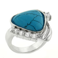 Sterling Silver Jewelry - hot selling 925  sterling silver turquoise cubic zirconia ring size  7 Image.