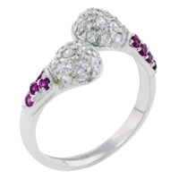 Rings - size7  dome twisted clear cz 925  sterling silver gift fashion ring Image.