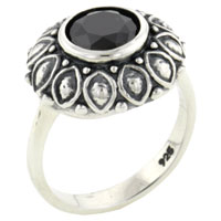 Rings - hot 925  sterling silver size7  round cut onyx ring vintage Image.