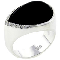 Rings - hot selling size7  pear cut onyx 925  sterling silver fashion ring Image.