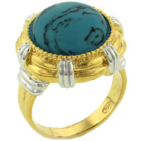 Theme Jewelry - turquoise ring vintage round shaped gemstone 925  sterling silver gold tone ring Image.