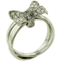 Sterling Silver Jewelry - size 7  cz bow rings Image.