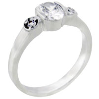 Rings - size7  oval cz sterling silver ring gift fashion jewelry Image.