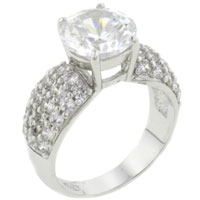 Rings - hot size7  gleaming round cz 925  sterling silver band ring jewelry Image.