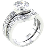 Rings - classy size7  round clear cz arch promise ring in 925  sterling silver Image.