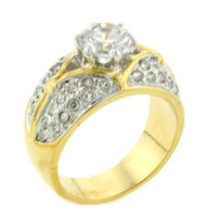 Rings - size7  round cut additional cz encrusted ring Image.