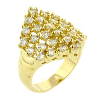 Rings - classic 14 k gold plated size7  regal cz sparkling ring jewelry gift Image.