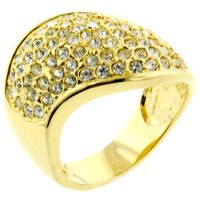 Rings - fashion size7  flashy pave clear cz ring in 14 k gold plated jewelry Image.
