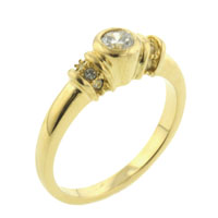 relation - round cut cz golden band ring Image.