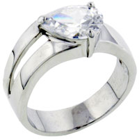 Rings - size7  forked band pear cubic zirconia sterling silver ring gift fashion jewelry Image.