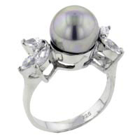 Mother Of Pearl Jewelry - classic size 7  cultured pearl 925  sterling silver ring jewelry gift Image.
