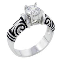 Rings - size7  antique cz sterling silver ring gift jewelry fashion Image.