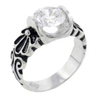 Rings - round cz engraved band sterling silver ring gift jewelry fashion Image.